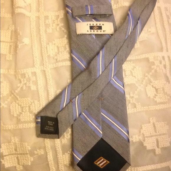 Joseph Abboud gray, blue, white striped necktie